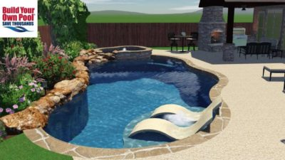 Neylon family swimming pool layout in 3D. Close up of the lounge chairs that are submerged in the swimming pool water.