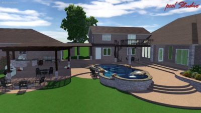 Swimming pool plan for a house in Texas, showing the backyard layout and the swimming pool design. The pool has two water features along with a hot tub. You can see the back of the house and the outside, covered patio area. The patio also has a sitting area and a cooking area.