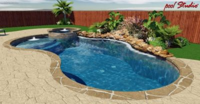 Close up view of a swimming pool design for a family in Austin, Texas.