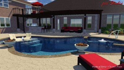 Swimming pool plan showing the view from the yard side, showing the two fire pits on the side of the swimming pool and two lounge chairs submerged in the water. This pool design was created for a home in Dallas, Texas.
