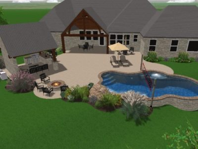 Over head view of a home in Texas with a swimming pool in the backyard. This is a 3D rendering of a pool plan. You can see the covered lounge are that also contains a grill and outdoor cooking area. There are chairs around a fire pit next to the swimming pool. The swimming pool layout is a beautiful, spacious pool that also includes a volleyball net.