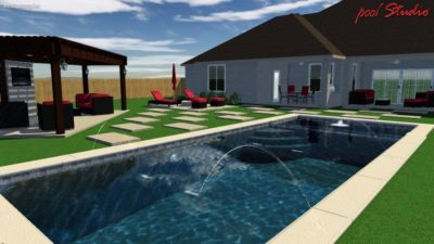A swimming pool plan for a family in Texas. The pool plan shows the swimming pool that contains water features. You can see the covered, outdoor lounge area that has seating and a television.