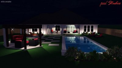 Pool design for a family in Texas that shows the swimming pool at night time. The backyard is lit up along with the covered lounge area. The swimming pool also has the lights turned on.