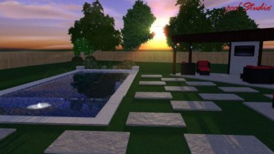 Texas home with a swimming pool design that shows the swimming pool layout at dusk.