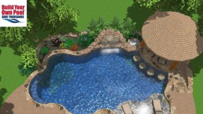 Over head swimming pool 3D rendering for the Askew family home located in Austin, Texas.