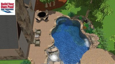 Swimming Pool Layout shown in 3D for the Askew family. Pool design for Austin, Texas family.