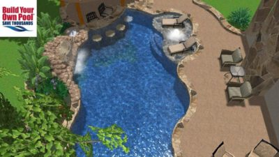 Swimming pool 3D design for Askew family in Austin, Texas. Pool layout shows a waterfall in the pool, lounge chairs submerged in the water, and a swim up bar with seating options in the pool.