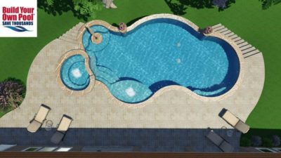 Over head view of a 3D swimming pool design for the Bently family. They live in Austin, Texas and are looking to build their own pool so BYOP created a 3D pool plan.
