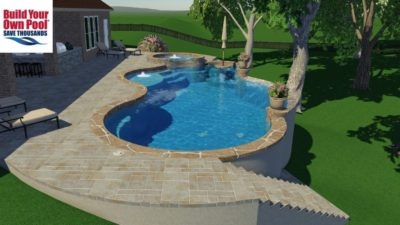 3D Swimming pool rendering for the Bently household. Building a pool in Austin, Texas. Pool design shows the swimming pool and hot tub and a covered grill area.