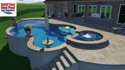 View of a swimming pool plan that shows a swimming pool, hot tub, covered, grilling area and a lounge area with a built in, brick fire place.