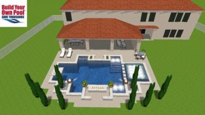 Swimming Pool 3D Rendering for the Bibb family. They live in Austin, Texas and they are building a swimming pool and had a 3D design created at BYOP. The pool design shows the swimming pool layout and the hot tub, fire bowls, lounge area, and eating area.