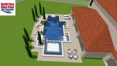 A zoomed out, over head view of the Bibbs family swimming pool plan, created by BYOP.