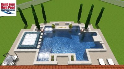 Centered, over-head view of a swimming pool and hot tub in the Bibbs family backyard in Austin, Texas. The 3D rendering shows the swimming pool, hot tub, fire bowls, and the sitting area.