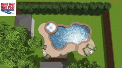Over head view, looking down at the Chuck family swimming pool 3D design plan. You can see the layout of the swimming pool and hot tub.