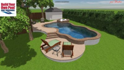 Close up, side view of the Chuck family pool design. The pool plan shows how the swimming pool and hot tub will look from the side of their backyard. Their home is located in Austin, Texas.