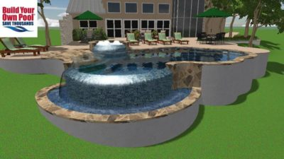 A swimming pool plan for a house out in the country, the swimming pool design includes a beautiful waterfall and a hot tub.