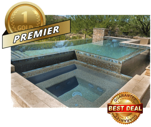 Swimming pool with best deal guarantee logo, premier package.