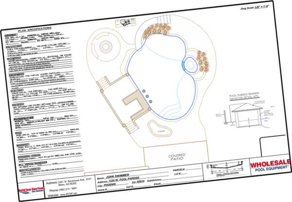 BYOP swimming pool plan specifications form.