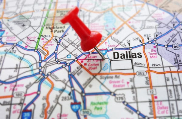 Dallas, Texas on a map. Showing the location of BYOP.