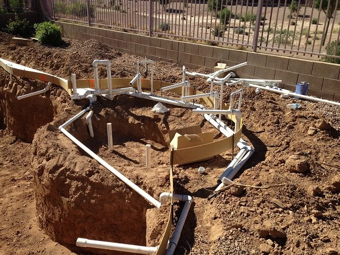 Up close look at a swimming pool's plumbing system.
