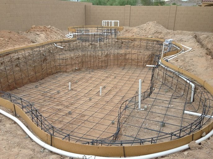 View of a swimming pool that had the pool rebar and electrical system installed. Working towards building a swimming pool in Phoenix, Arizona.