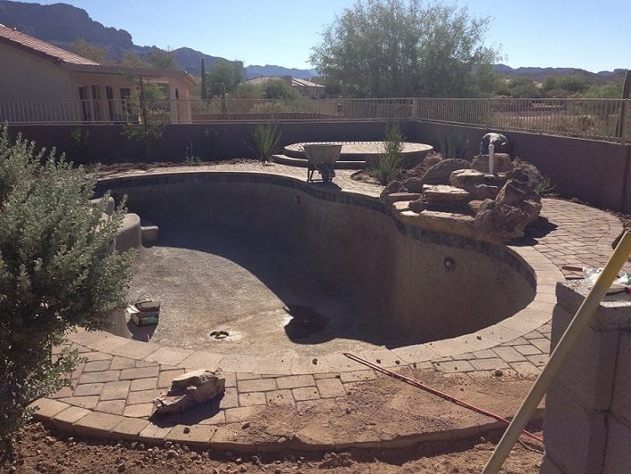 Photo showing new pool decking surface.