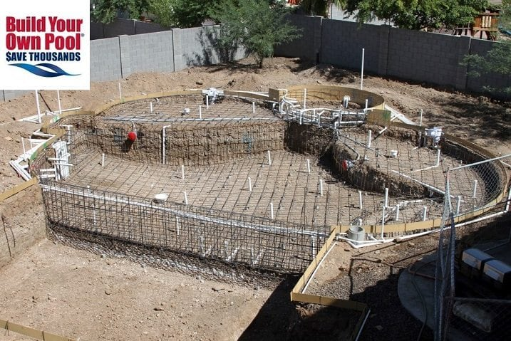 Over head view of a swimming pool electrical system being installed in Fort Worth, Texas.