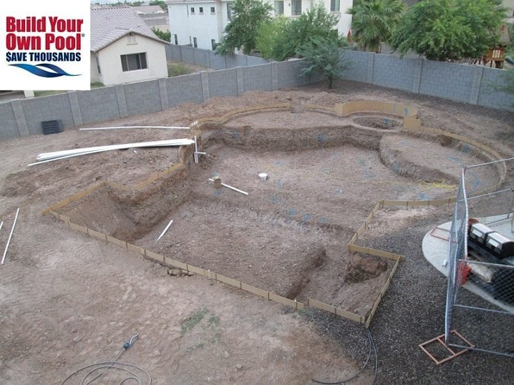 Over head view of a swimming pool layout by BYOP. The homeowners in Austin, Texas are building their own swimming pool with BYOP.