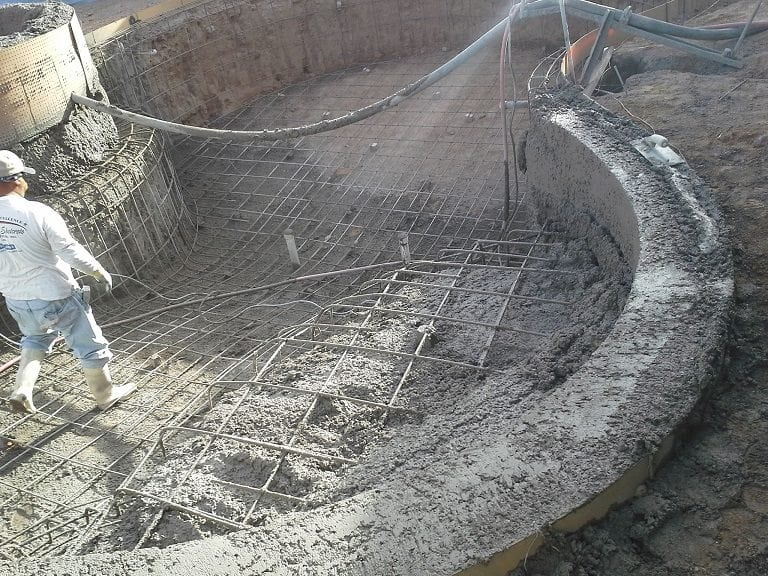 Swimming pool with shotcrete being built in Dallas, Texas.