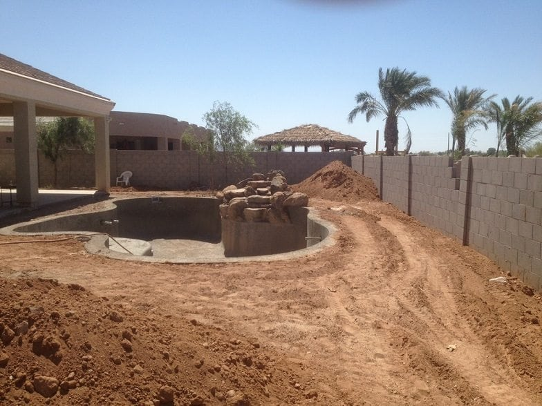 Shotcrete being used in a swimming pool built in Arizona.